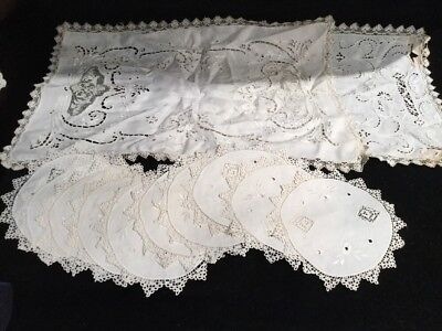 10 Antique Embroidered Cocktail Napkins And 2 Lace Place Mats