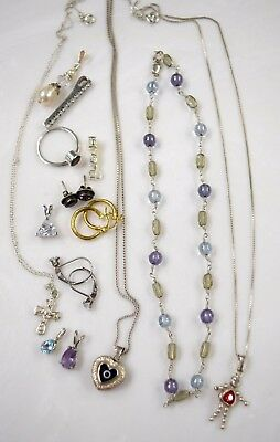 Sterling Silver Lot Necklaces Pendants Earrings Ring 28 g