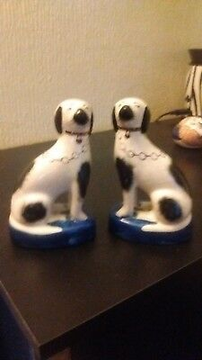 Pair Of Small Wally Dogs With Crackle Glaze