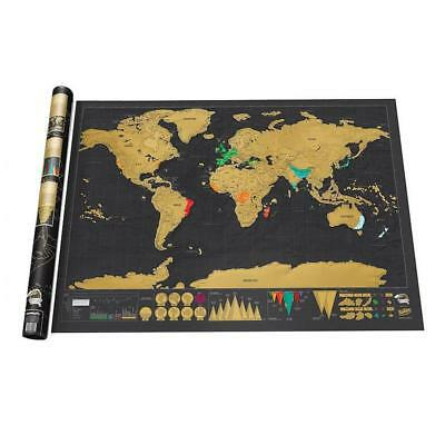 Scratch Off Deluxe World Map Wall Poster Personalized Travel Vacation Log Gift