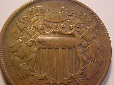 1864 Rare Small Motto Two Cent Piece Strong Very Fine Original Great Coin