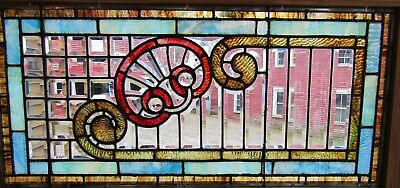 Antique Beveled And Stained Glass Window