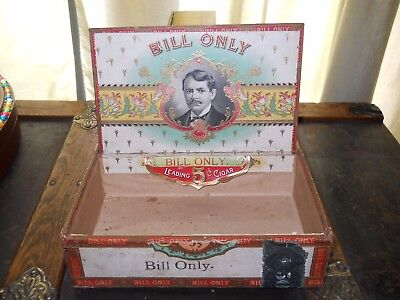 """Antique Wood Cigar Box Vintage Tobacco """"bill Only"""" Factory 2583 9Th District Pa."""