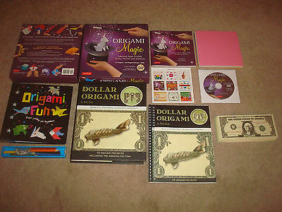 Origami Book Kit LOT Dollar Bill Won Park Fun Magic Paper Folding Art Craft DVD