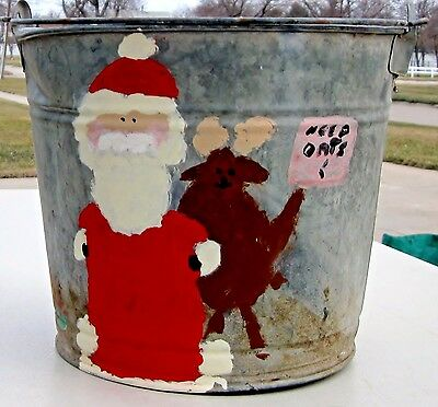 Vintage Christmas Santa Claus Garden Water Pail Galvanized Bucket Holiday Decor