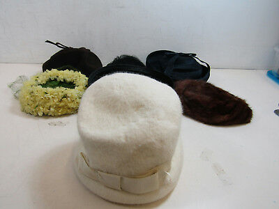 Lot of 7 Vintage Womens' Hats Various Colors And Styles Fashion Outerwear