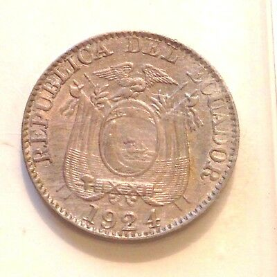 1924 Ecuador 5 Centavos, KM#65 One Year Type, XF+/AU