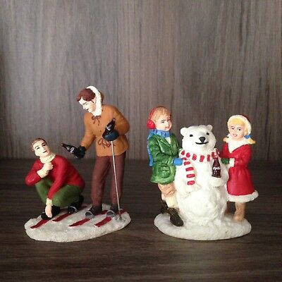 Coca-Cola Town Square Collection Christmas accessory Skiers 64334 Snowbear 64329