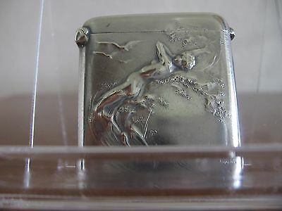 Erotic silver vesta match safe.  Nude Venus rising from the sea. Signed Jouant.