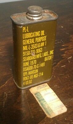 Vintage PL-L Lubricating Oil MIL-L-3503 & AM 1 Can - USED approx 1oz left
