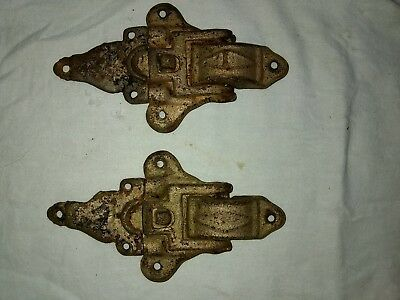 two old rustic antique metal trunk latches vtg hardware
