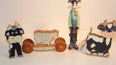 Lot 4 Wood Cow Collection Fast Free Shipping