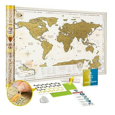 Scratch off World Map Poster Gold - Large Detailed Scratch off Map of the World
