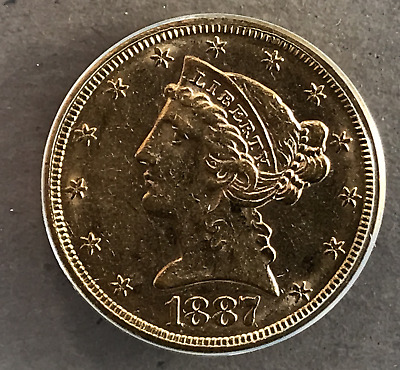 1887 S Gold $5 Five Dollar Half Eagle Liberty Head ANACS AU53