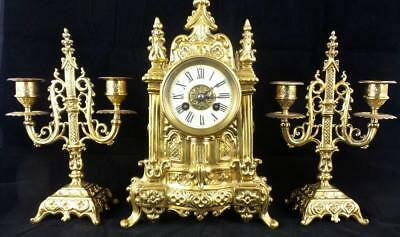 Antique 1855 French gilt bronze Gothic Cathedral mantle clock set by Vincenti