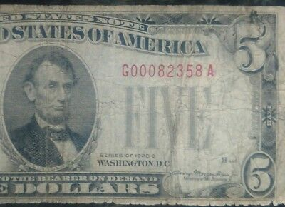 1928 Circulated Five Dollar $5 Red Seal Note