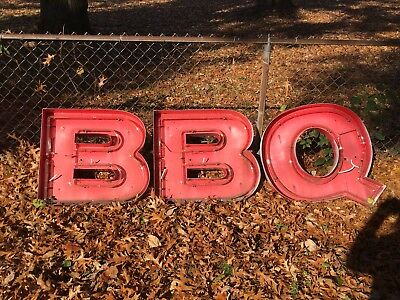 Vtg BBQ NEON Sign Barbecue RESTAURANT patina Red Distressed Worn Letters rustic