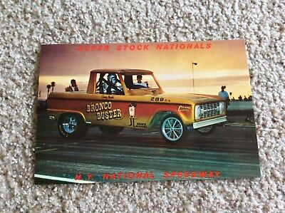 1970s Ford  Bronco race car oversize color card from New York national speedway