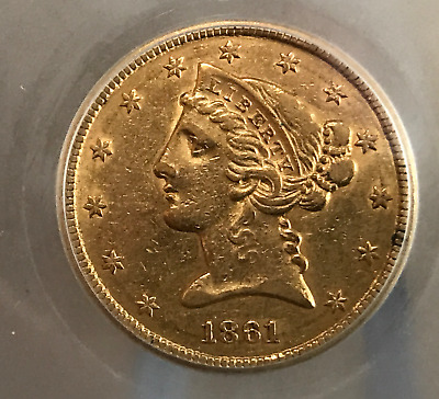 1861 Gold $5 Five Dollar Half Eagle Liberty Head AU Civil War Date