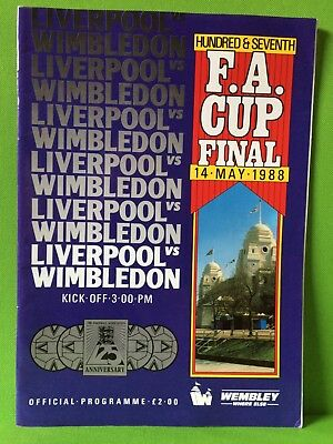 Fa Cup Final 14Th May 1988 Wimbledon V Liverpool ..official Match Day Programme
