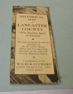 1947 Wilbur Suchard Chocolate Company Lancaster County PA Historical Map J. Best