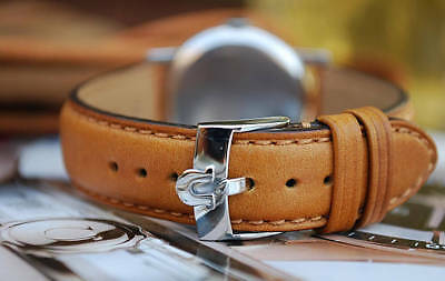 Omega Custom Tan Leather 18Mm Strap For Your Vintage Watch-Best Quality!