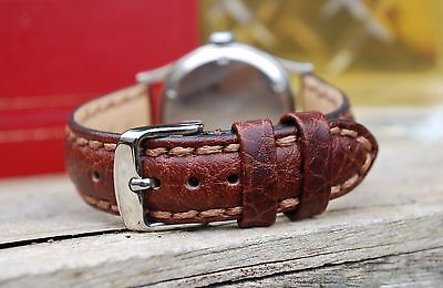 Napoli Saddle Stitched 18Mm Leather Strap For Your Vintage Watch-Best Quality!