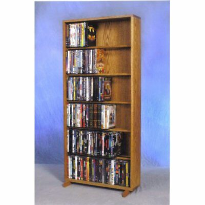 The Wood Shed Solid Oak 6 Row Dowel CD / DVD Combination Media Rack - 24 in.