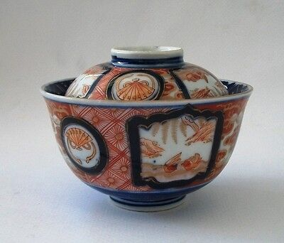 Antique Imari Kinrande Lidded Bowl 19th Century