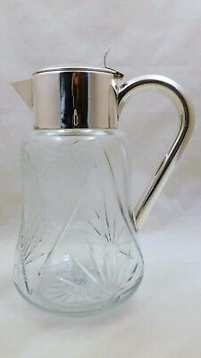 Beautiful Silver Plated Cut Crystal Pitcher Made in Germany Wine Lemonade Tea