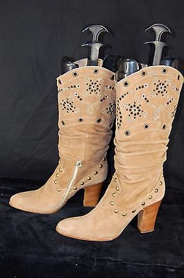 a85a9c9b5cd Le Silla Studded Slouch Suede Tan Riding Biker Women Boots Eu 39 Us 8.5  .italy