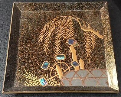 Fine Quality Antique Japanese Rimpa Style Square Lacquer Tray with Inlay