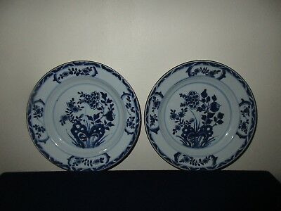 Antique 19th C Chinese Porcelain Pair Blue & White Floral Plates Dishes Kangxi