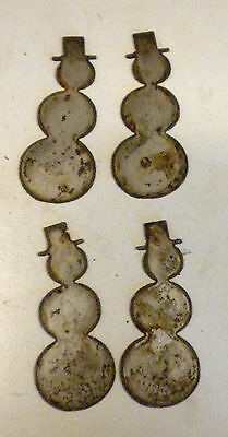Lot Set of 4 Metal 4 inch Snowman Frosty Christmas Holiday Ornaments Crafts Sign