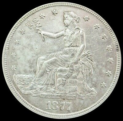 1877 S Silver United States Trade $1 Dollar Coin About Uncirculated Condition