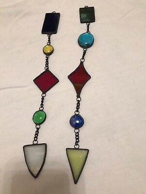 Two Colourfull stained glass suncatchers mobile window decoration