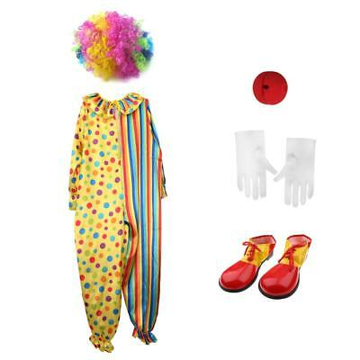Circo Clown Joker Costume Outfit Shoes Wig Red Nose White Gloves Adulto 35bd5e14d198