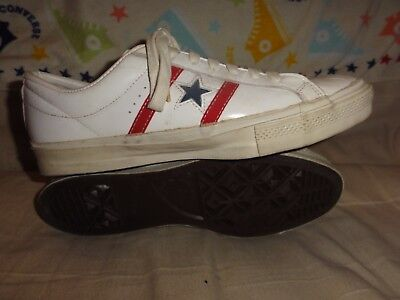 Vintage Converse White Leather Low Tops Made In Usa Size 10.5 Mens Blue Tags