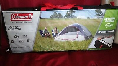 COLEMAN Highline II 4-Person Gray C&ing Tent Dome W/Carrying Bag & Coleman 4-Person Traditional Camping Tent Highline II Dome Camping ...