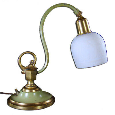 Gilt and Painted Goosneck Boudoir Lamp with Acid Etched Shade - 1910's