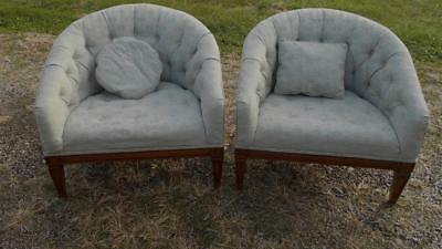Two Vintage Mid Century Chairs..pale Blue
