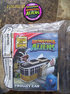 Lowes Build And Grow Dreamwork Monsters Vs Aliens Trolley Car Wood Model & Patch