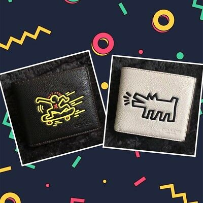 NEW $225! COACH X Keith Haring 3 in 1 Compact ID Leather Passcase Bifold Wallet