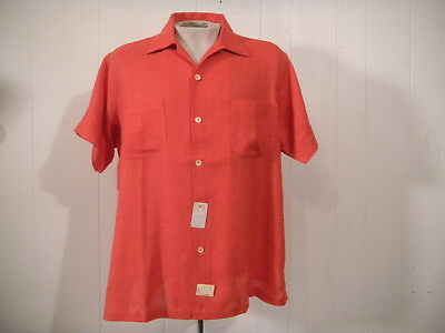 Vintage 1950s Rockabilly shirt salmon pink Saks Fifth Ave NOS