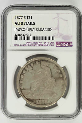 1877-S Silver Trade Dollar NGC AU Details Improperly Cleaned -143643
