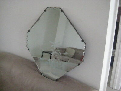 deco style etched and scallaped mirror.