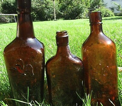 Lot 3 Vintage Amber Glass Brown AA Ancient Age Whiskey Bottles 1 Cork Top PT 4/5