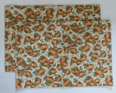 Longaberger 2001 PLACEMATS Pumpkin Patch FABRIC Set of TWO Retired