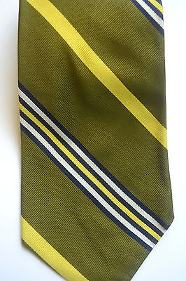 Vintage Brooks Brothers Olive Green 100% Silk Tie W/ Diagonal Stripes
