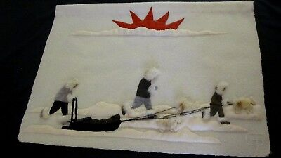 Inuit Wall Hanging Hunters With Dog Sled Setting Sun 3-Dimensional